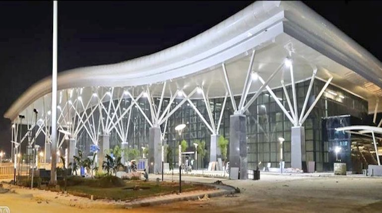 Exterior of the sir m visvesvaraya ac terminal showing its canopy at night