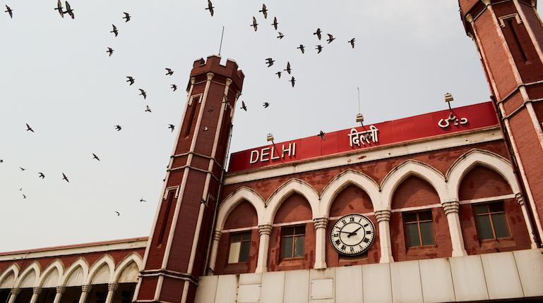 Clock at Old Delhi Railway Station, India
