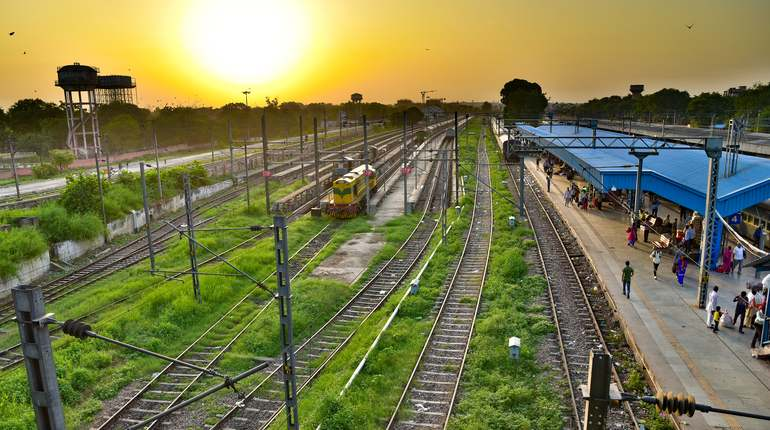 Sunrise at a railway station in India