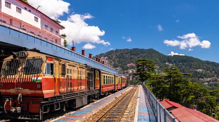 kalka-shimla toy train waiting at railway station