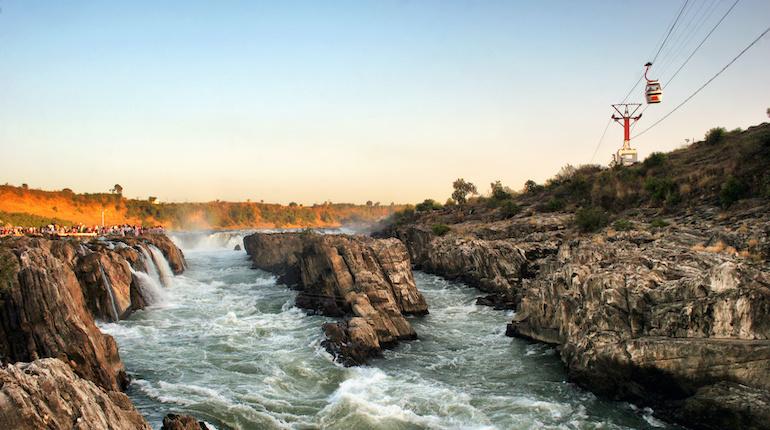 ropeway over the dhuandhar waterfall near jabalpur