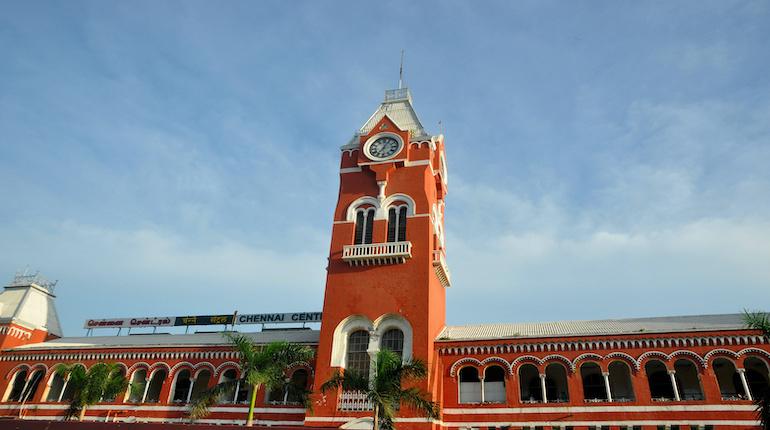clock tower at chennai central railway station