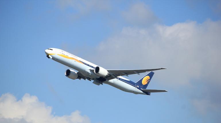 Jet Airways plane in the sky